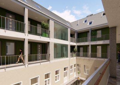 Budapest Corvin negyed újépítésű galériás lakások