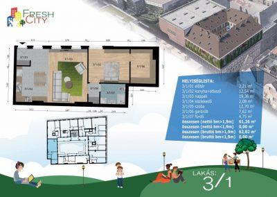 Amerikai konyhás lakás, 63 m2, 59.9M Ft