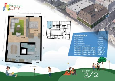 Amerikai konyhás lakás, 59 m2, 53.9M Ft