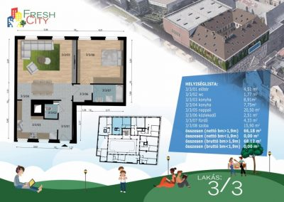 Amerikai konyhás lakás, 68 m2, 61.9M Ft