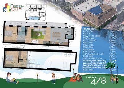 Galériás, erkélyes lakás 89 m2, 82.9 M Ft